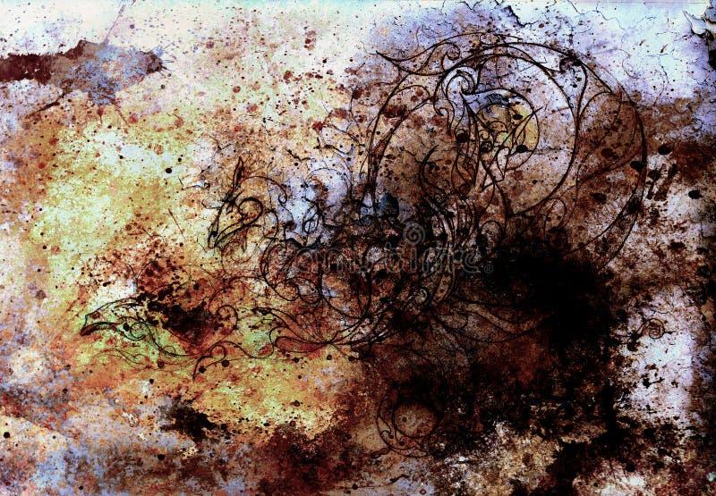 Абстрактные предпосылки цвета, крася коллаж с пятнами, структура ржавчины и дракон орнаментов иллюстрация штока