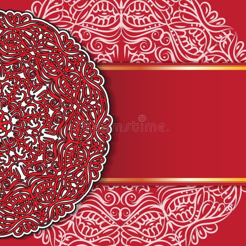 Абстрактные приглашения дизайна мандалы орнамента, карты, ярлыки Круглый шаблон логотипа и ярлыка Апельсин-зеленый r иллюстрация вектора