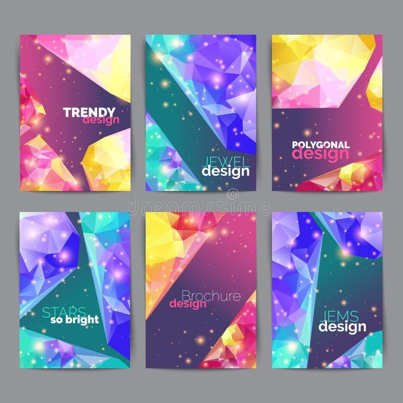 Абстрактные плакаты моды, комплект визитной карточки Геометрический дизайн листа названия брошюры Шаблон годового отчета иллюстрация штока