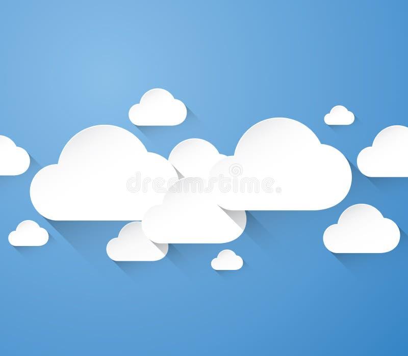 Абстрактные плоские белые облака с длинными тенями в голубой предпосылке иллюстрация вектора