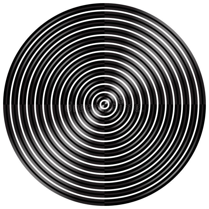 Download Абстрактные радиальные, концентрические круги, кольца Иллюстрация вектора - иллюстрации насчитывающей радиус, monochrome: 81813988