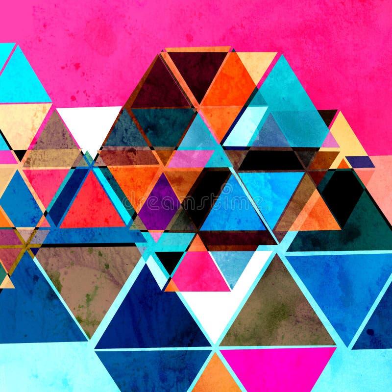 Абстрактные ретро треугольники предпосылки акварели иллюстрация вектора