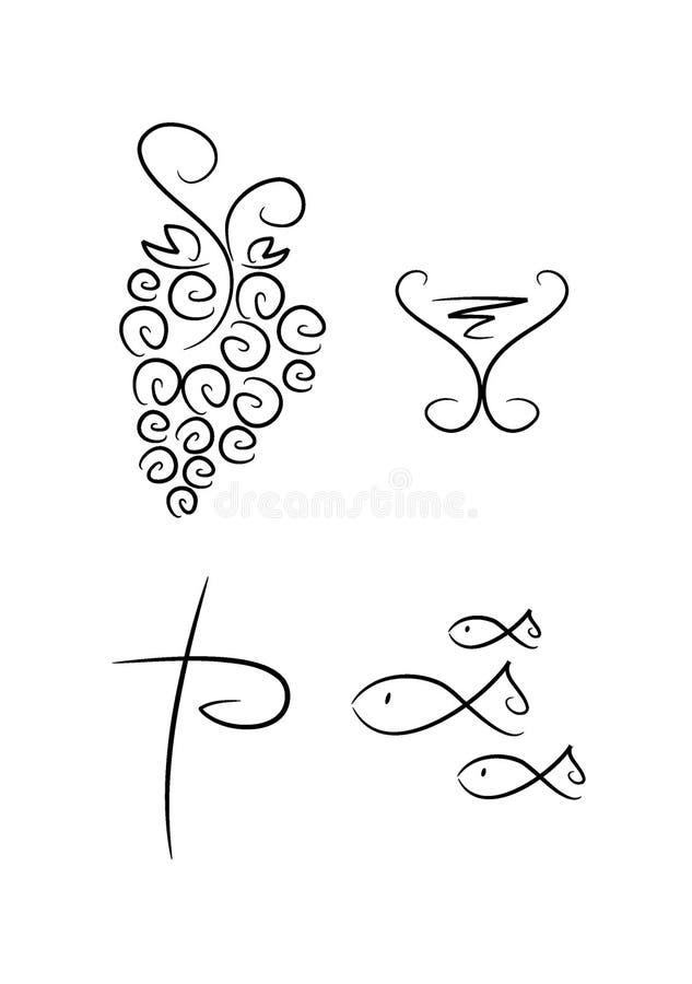 Абстрактные религиозные символы (установите 4) иллюстрация вектора