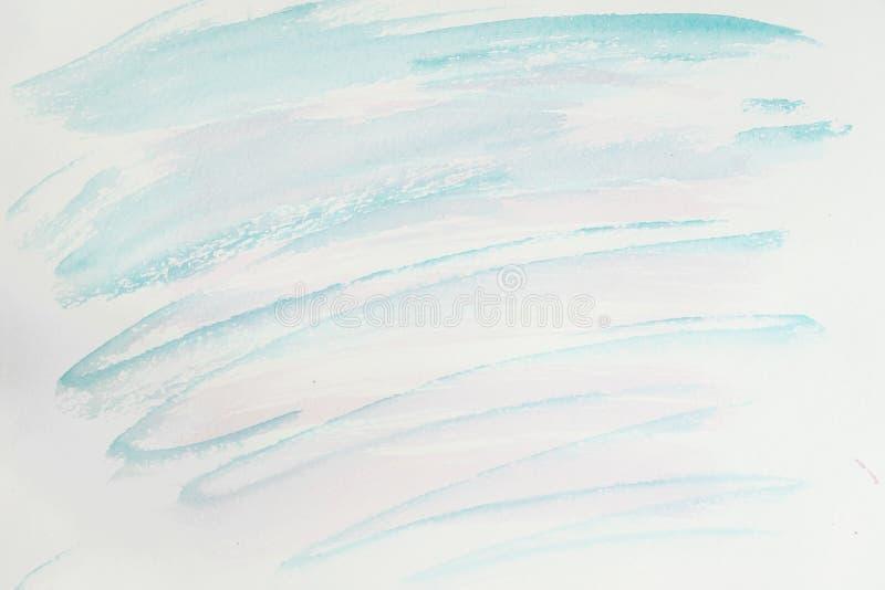 Абстрактные розовые и голубые тени Часть конца-вверх руки покрасила акварель, чувствительные цвета ходов щетки на белизне иллюстрация штока