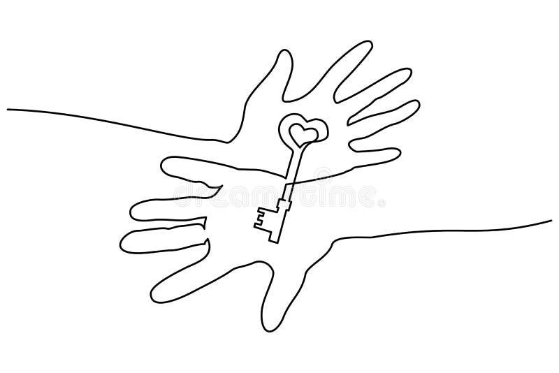 Абстрактные руки держа ключевую непрерывную одну линию иллюстрация вектора