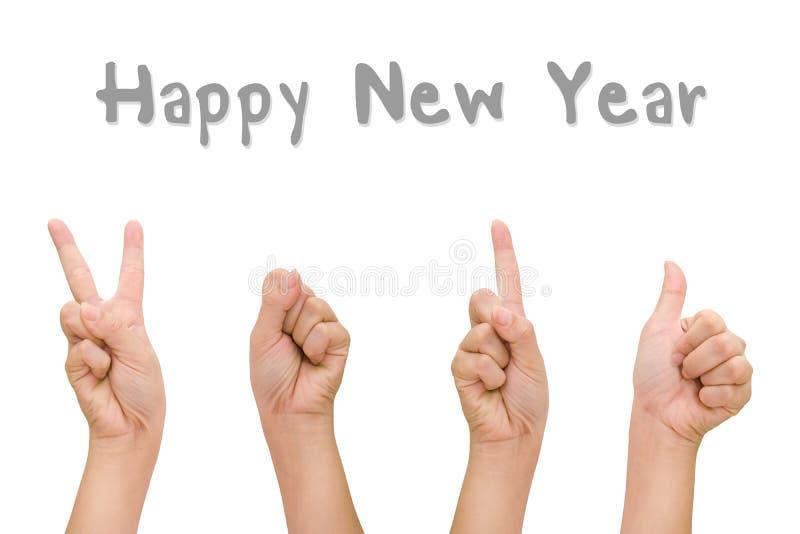 Абстрактные руки женщины с знаками символа 2016 руки, счастливой рукой Нового Года стоковое фото rf