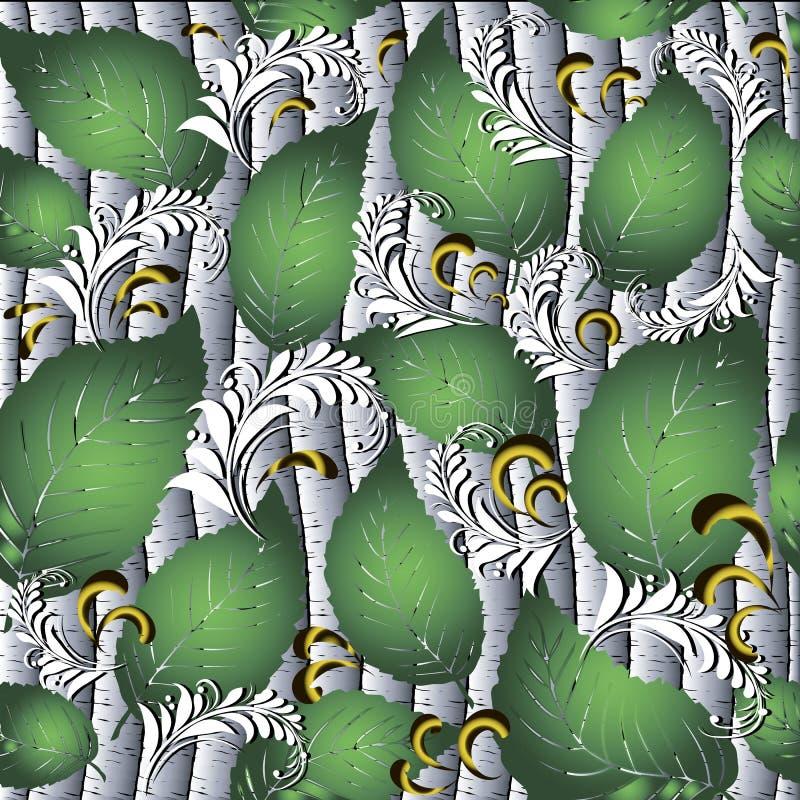 Абстрактные русские деревья березы стиля 3d vector безшовная картина иллюстрация вектора