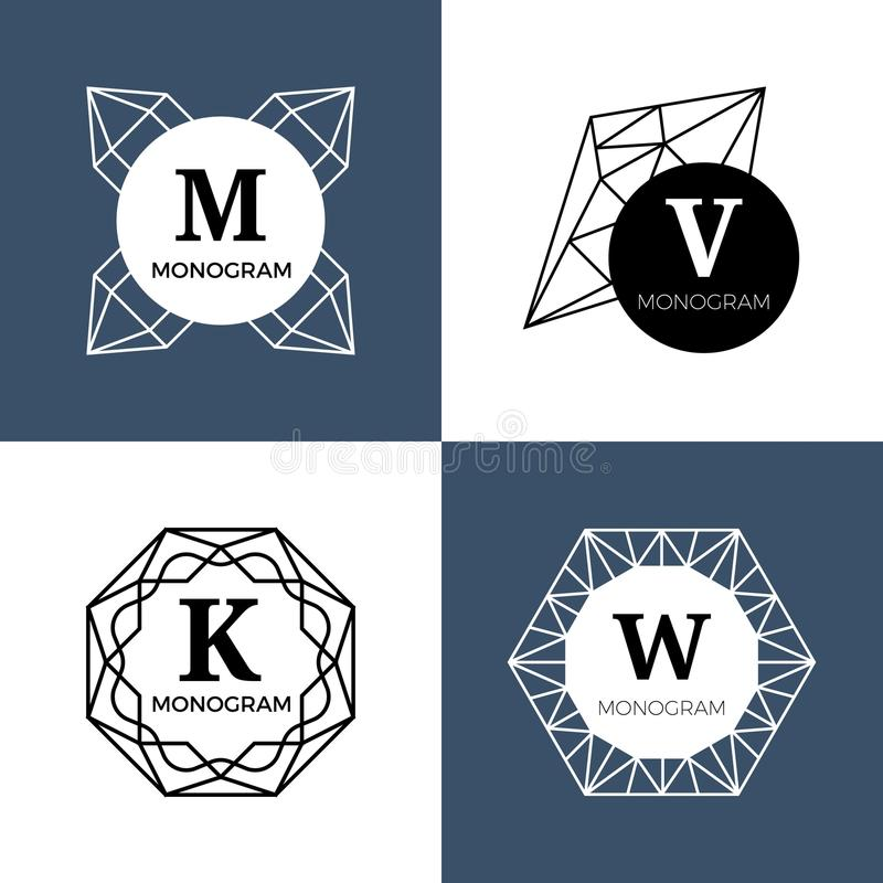 Абстрактные самоцветы драгоценности, украшения диаманта, габитусы кристалла vector вензеля, логотипы иллюстрация вектора