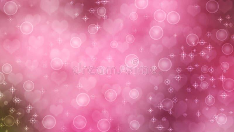 Абстрактные сердца, сверкнают и клокочут в розовой предпосылке стоковое фото