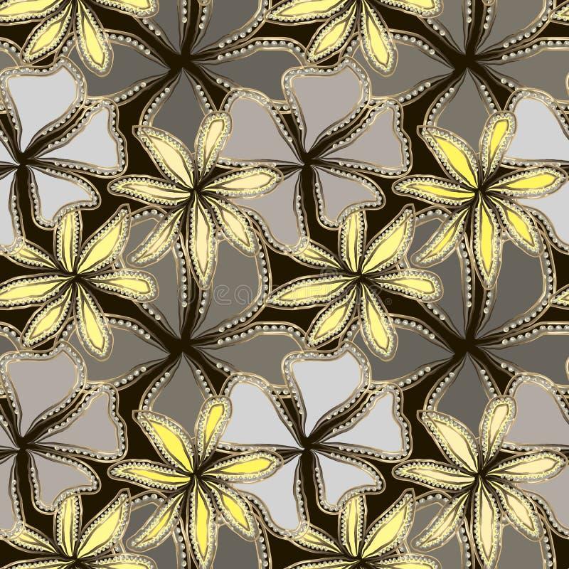 Абстрактные серые и желтые цветки в рамке золота с диамантами Роскошная предпосылка бесплатная иллюстрация