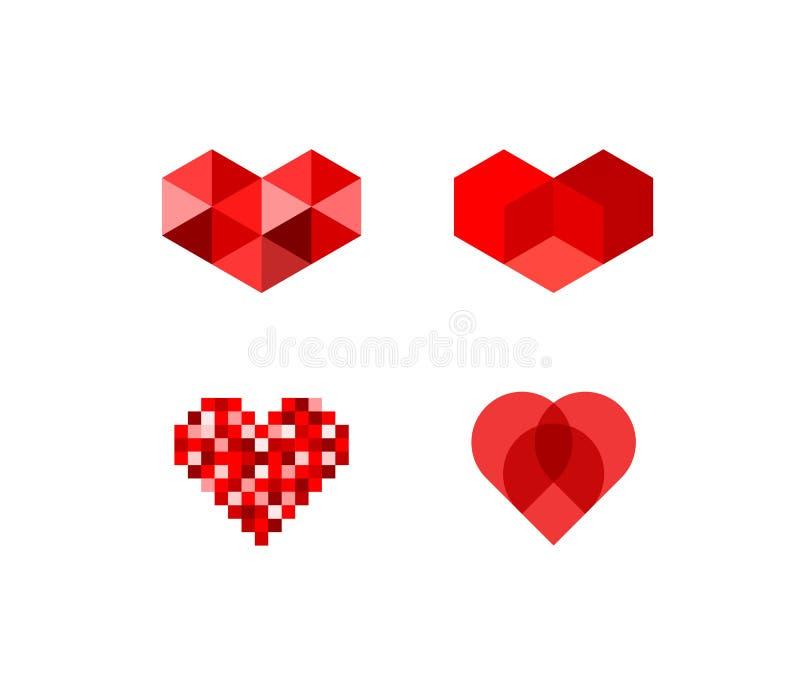 Абстрактные символы сердца иллюстрация вектора