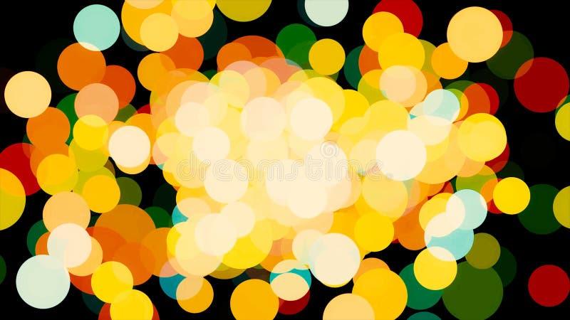 Абстрактные сияющие частицы, яркое влияние confetti на черной предпосылке r Захватывающее запачканное летание кругов иллюстрация штока