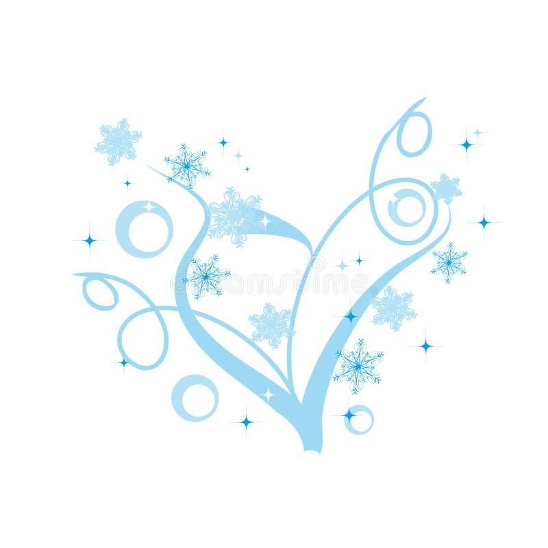 абстрактные снежинки сердца иллюстрация штока