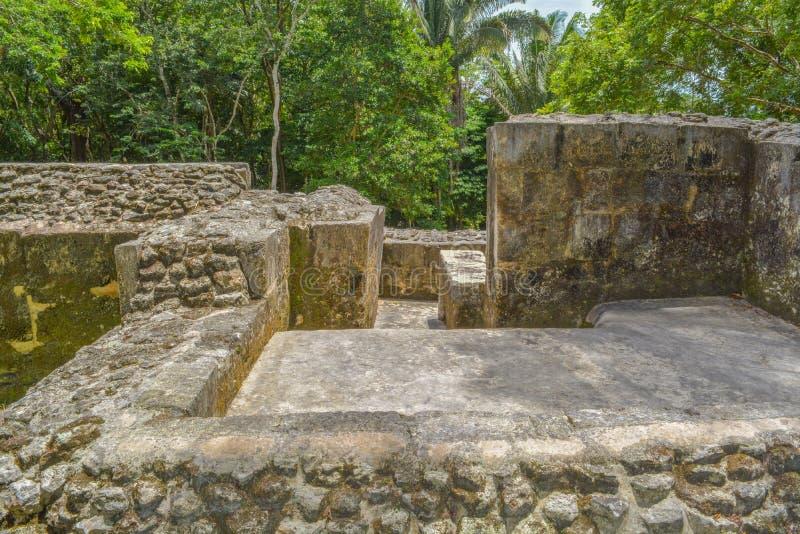 Абстрактные старые майяские руины Xunantunich облицовывают даму в Сан Ignacio, Белизе стоковая фотография rf
