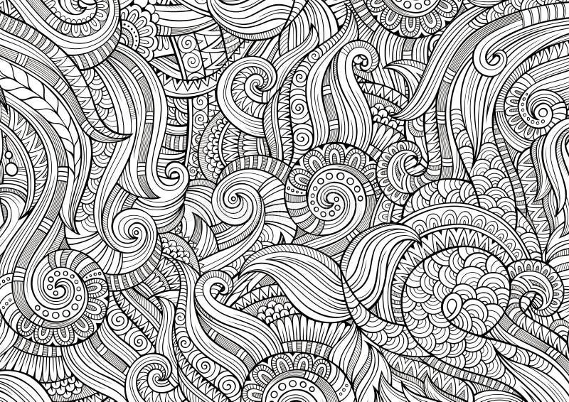 Абстрактные схематичные декоративные doodles вручают вычерченную этническую картину иллюстрация вектора