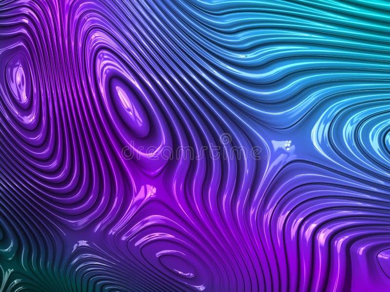 Абстрактные текстурированные линии градиента фрактали неоновые, 3d представляют для дизайна и развлечений Предпосылка для брошюры иллюстрация вектора