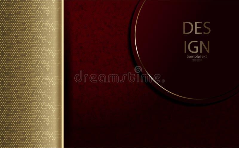 Абстрактные текстурный состав темного пинка, бургундский с круглой рамкой и рамкой золота с ярким блеском бесплатная иллюстрация