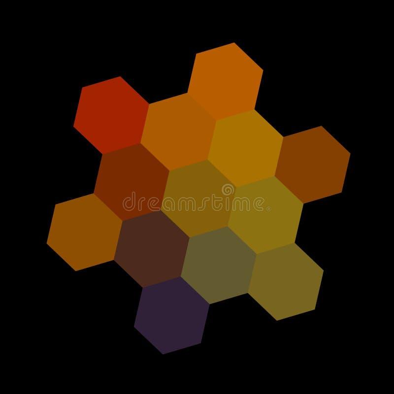 Абстрактные темные красочные шестиугольники - дальше иллюстрация вектора