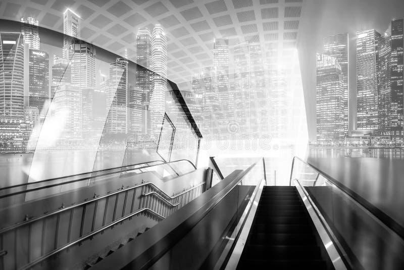 Абстрактные точки соединения на предпосылке города eff двойной экспозиции стоковые изображения
