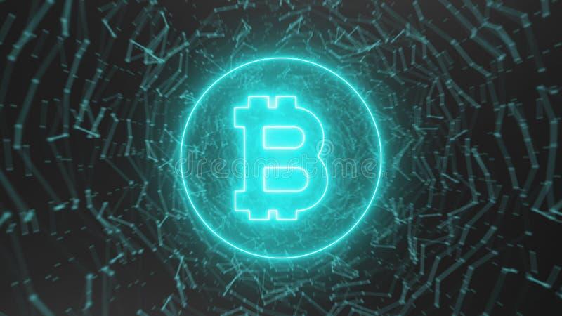Абстрактные точки соединения с знаком bitcoin иллюстрация вектора