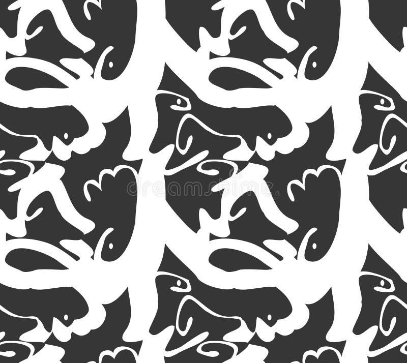 Абстрактные толстые curvy формы черным по белому иллюстрация вектора