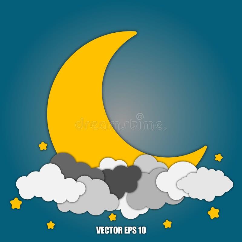 Абстрактные луна и звезды предпосылки в облаках Eps10 иллюстрация вектора