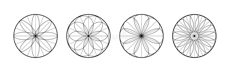 абстрактные установленные картины Значки мечт улавливателя Круглые линейные символы Цветки с геометрическими формами бесплатная иллюстрация