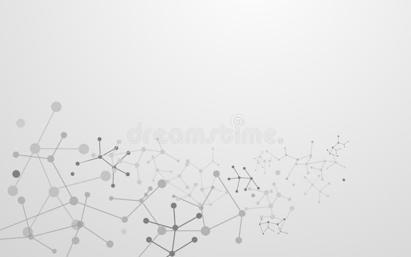 Абстрактные футуристические молекулы с предпосылкой концепции технологии соединения бесплатная иллюстрация