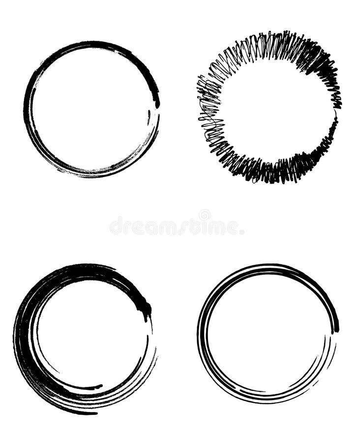 Абстрактные ходы щетки Doodle предпосылки установили черные круги бесплатная иллюстрация
