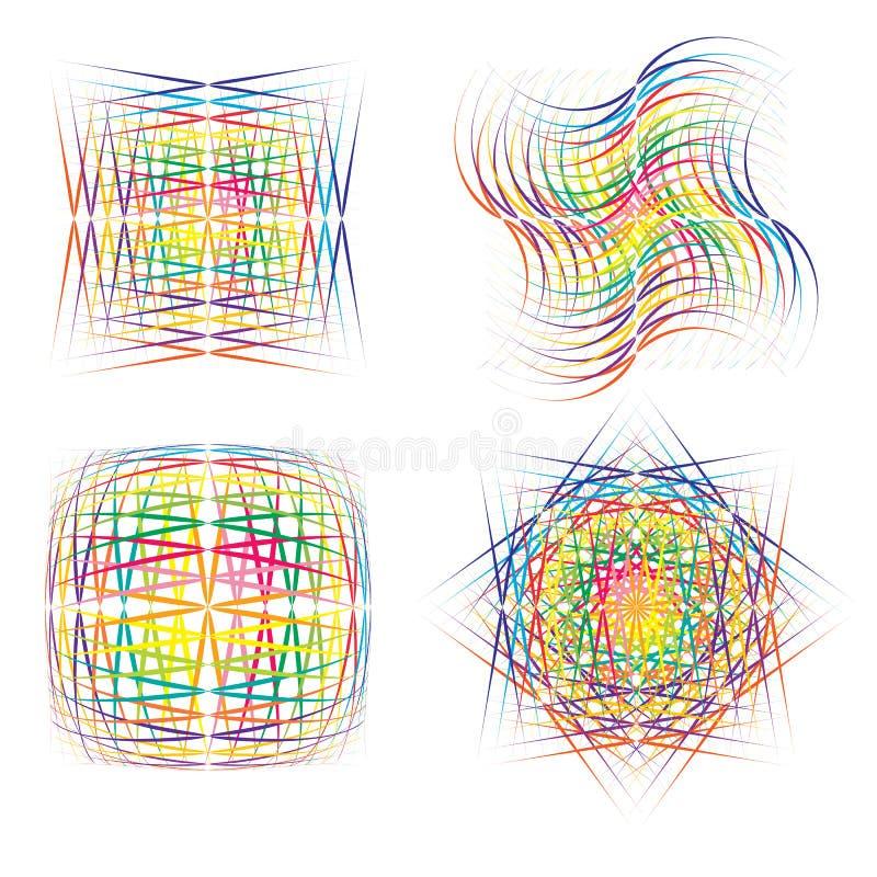 Абстрактные цветастые символы иллюстрация вектора