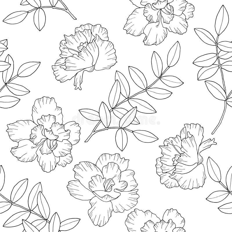 Абстрактные цветки и ветви с листьями r E Иллюстрация чернил руки вычерченная в линии стиле искусства иллюстрация вектора
