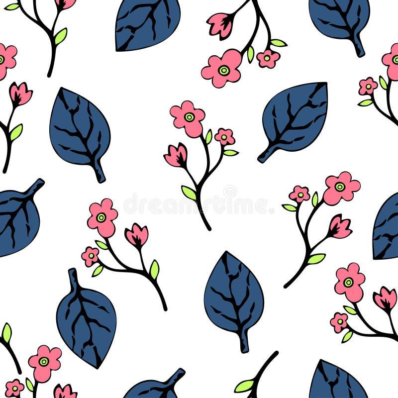 Абстрактные цветки и листья безшовная картина, предпосылка вектора Голубой пинк на белизне Вручите чертеж для дизайна обоев, f иллюстрация штока