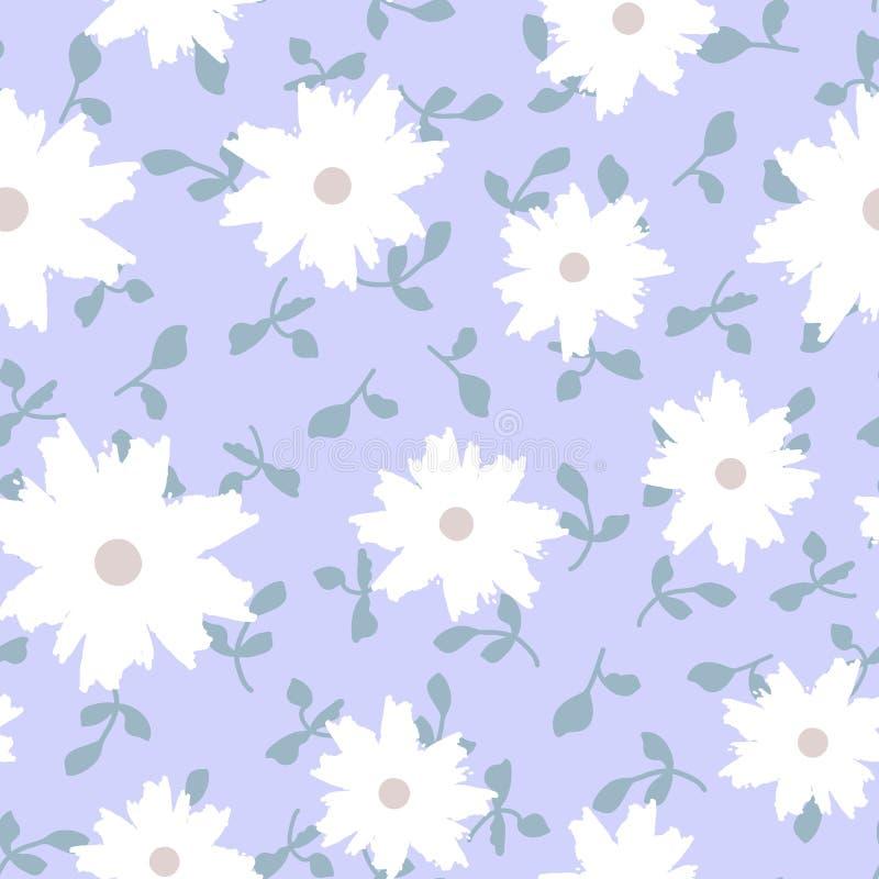 Абстрактные цветки покрашенные щеткой Ультрамодная флористическая безшовная картина иллюстрация штока
