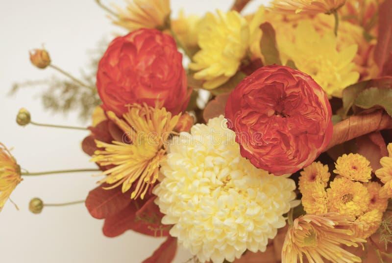 абстрактные цветки цвета хризантемы предпосылки Оранжевый букет осени расположение цветка стоковые фотографии rf