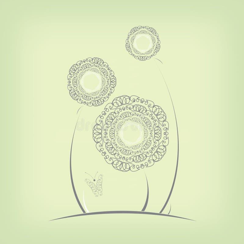 Абстрактные цветки иллюстрация вектора
