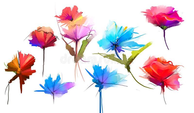 Абстрактные цветок и лист картины маслом Иллюстрация изолированная весны, цветков лета красит дизайн над белой предпосылкой иллюстрация вектора
