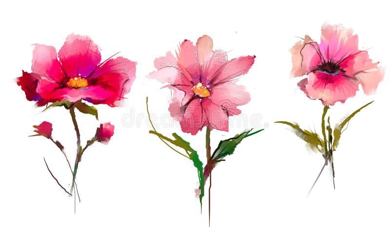 Абстрактные цветок и лист картины маслом Иллюстрация изолированная весны, цветков лета красит дизайн над белой предпосылкой иллюстрация штока