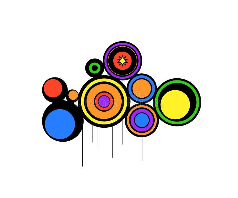 абстрактные цветы кругов ретро иллюстрация вектора