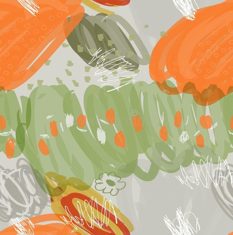 Абстрактные чернила отметки штрихуют и ставят точки оранжевый зеленый серый цвет иллюстрация вектора
