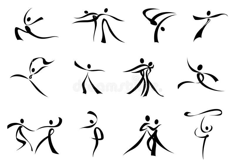 Абстрактные черные значки людей танцев иллюстрация вектора