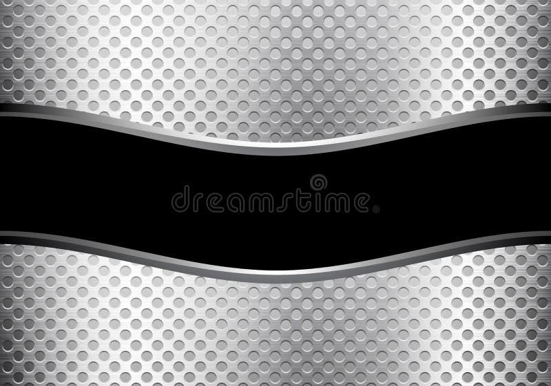 Абстрактные черные линия серебра знамени кривой и сетка круга конструируют роскошный современный вектор предпосылки иллюстрация вектора