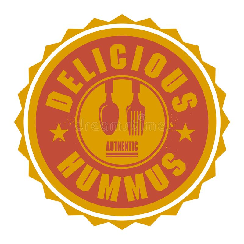 Абстрактные штемпель или ярлык с текстом очень вкусным Hummus иллюстрация вектора