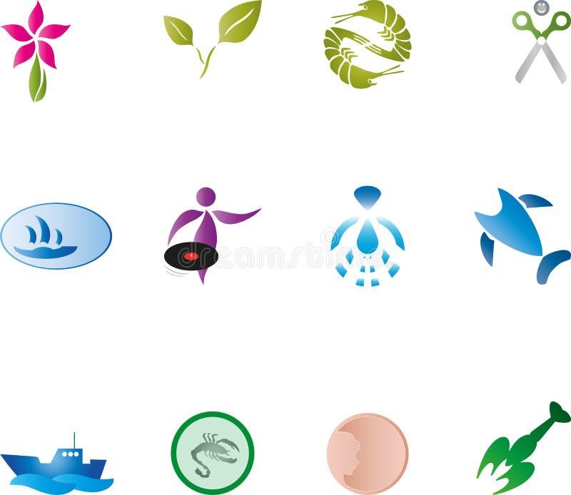 Абстрактные элементы дизайна, логотипы, собрание иллюстрация вектора