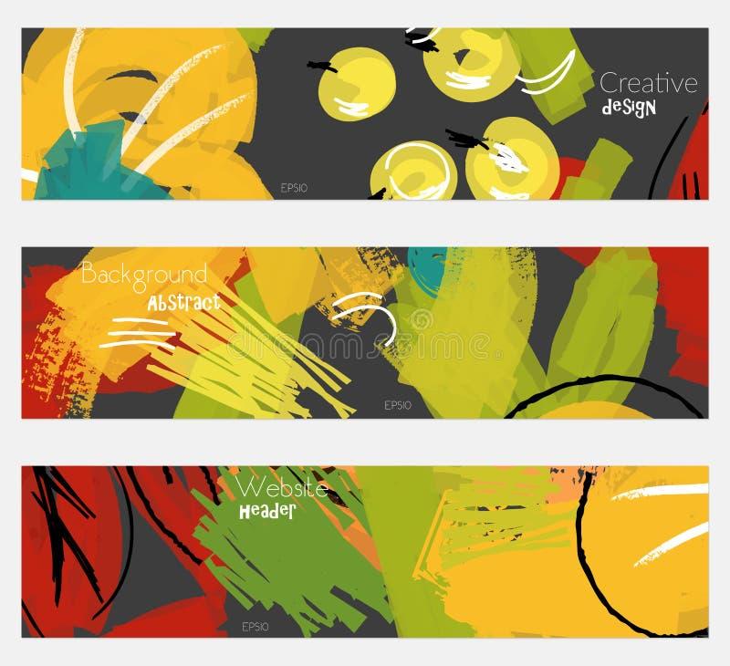 Абстрактные ягоды с грубым комплектом знамени черноты желтого цвета scribbles иллюстрация штока