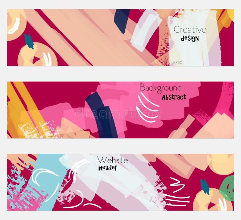Абстрактные ягоды с грубым ярким розовым комплектом знамени иллюстрация штока