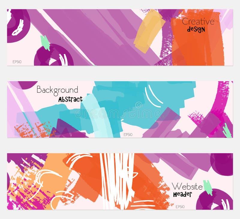 Абстрактные ягоды с комплектом знамени грубых scribbles фиолетовым бесплатная иллюстрация