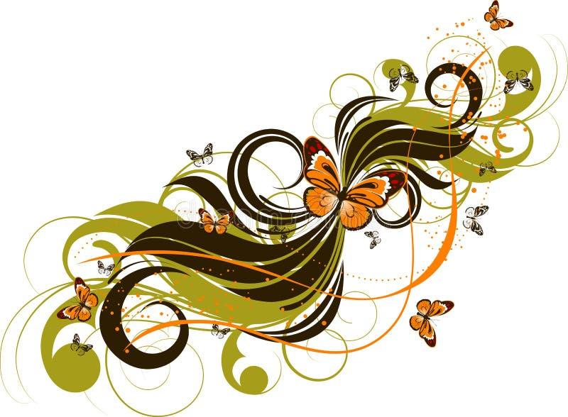 абстрактные butterlies предпосылки флористические иллюстрация вектора