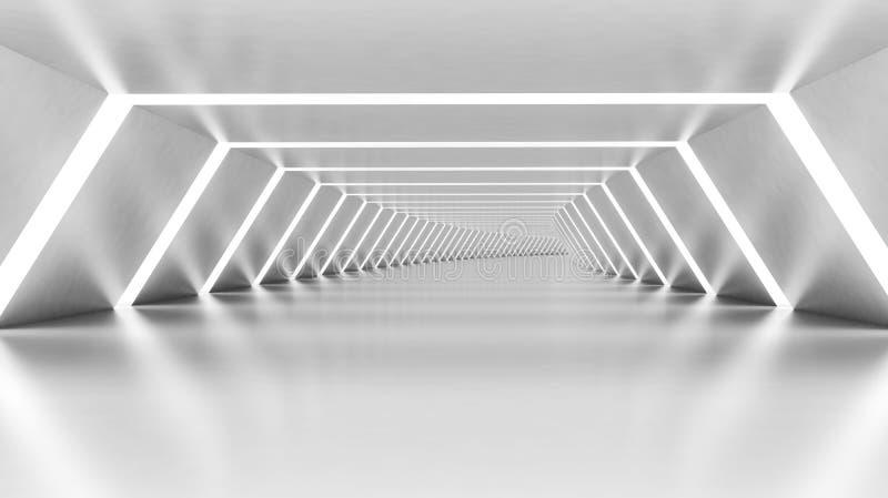 Абстрактные 3d опорожняют загоренный белый светя согнутый коридор иллюстрация вектора