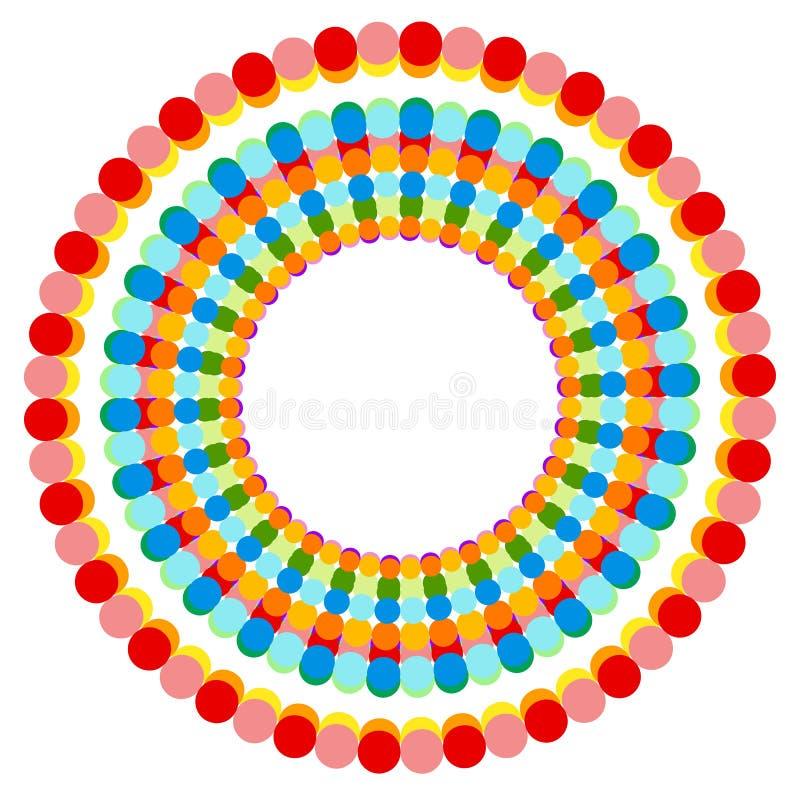 Download Абстрактные Multicolor поставленные точки круги Красочное украшение круга Иллюстрация вектора - иллюстрации насчитывающей кругово, кольцо: 81814534