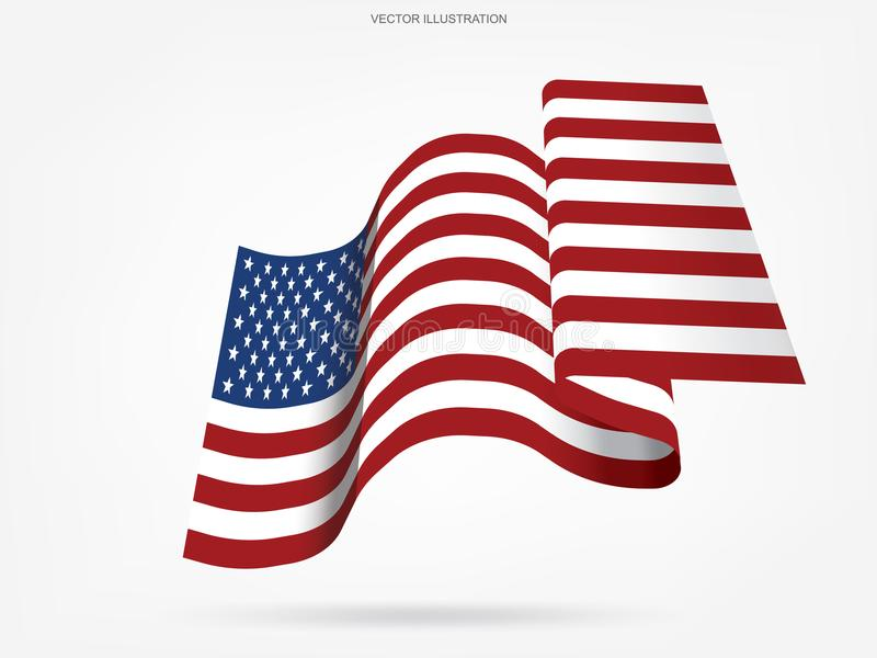 Абстрактный американский флаг на белой предпосылке вектор иллюстрация вектора